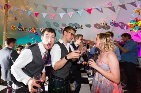 Guests make funny faces Derwentwater Independent Hostel Wedding