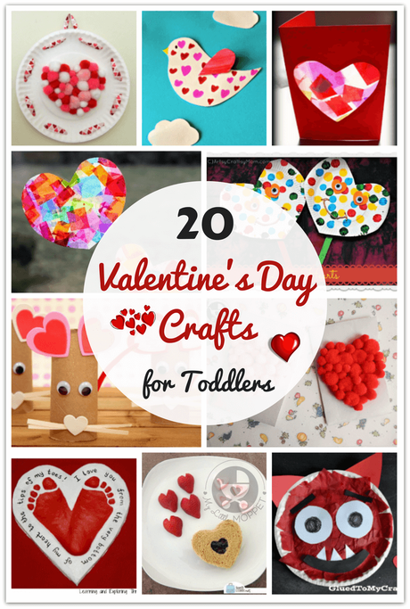 Toddlers needn't feel left out during Valentine season! Here are 20 easy Valentine's Day Crafts for Toddlers to do with siblings or parents!