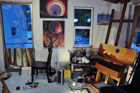 Cedar Lee paintings in art studio