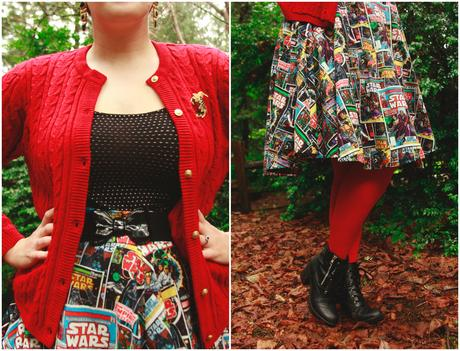 Star Wars skirt, rockabilly style, and a Moonstone Magic ring