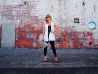 Active Truth Ultimate Full Length Tights in black   Country Road black singlet   Witchery Gathered Back Gilet   Seed Heritage necklace   Sheike & Co clutch   Ray-Ban Wayfarers