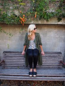 Active Truth Ultimate Full Length Tights in black   Witchery Utility Duster (not current), Stripe Linen Tee and Gigi Espadrilles   Seed Heritage necklace   Ray-Ban Wayfarers