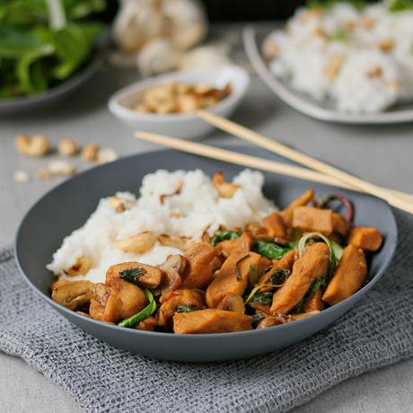 Soy Cashew Chicken with Jasmine Rice