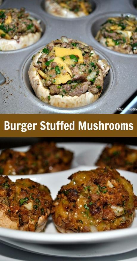 Ground Beef Burger Stuffed Mushrooms with Spinach, Cheese, and Barbecue Sauce