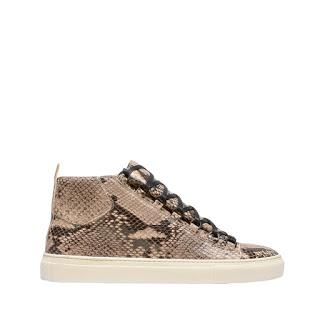 Primed In Python:  Balenciaga Beige Naturel Arena Sneakers