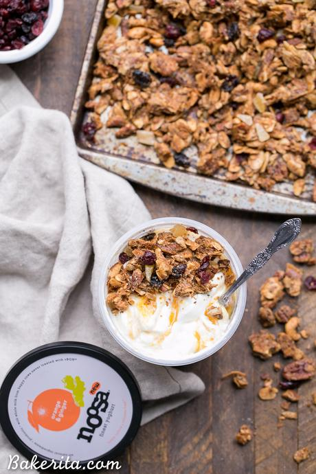 Orange Ginger Grain-Free Granola is crunchy, flavorful, and incredibly delicious - you definitely won't miss the oats! This gluten-free, Paleo and vegan granola makes the perfect breakfast or snack.