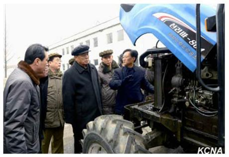 DPRK Premier Pak Pong Ju visits Kumso'ng Tractor Factory (Photo: KCNA).