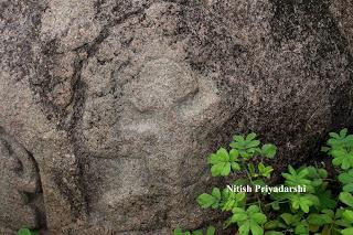 Ancient rock carvings on granite rocks near Ranchi city.