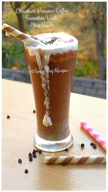 Chocolate-Banana-Coffee- Smoothie- chia -veg-Recipe