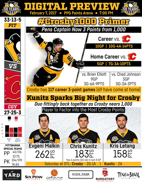 Game 52: Flames @ Penguins 02.07.17