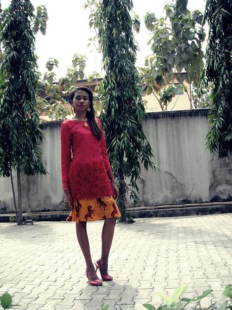 Weekend Style // Lace and Ankara Skirt