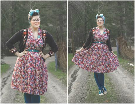 Floral applique, Lindy Bop Dress, and the 1940's Working Girl