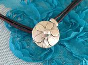 Leather Sterling Silver Flower Button Choker Necklace...
