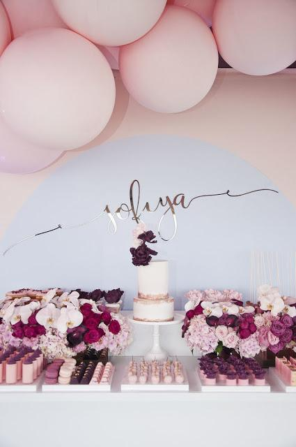 Burgundy and Pink with hints of gold / This Stunning Balloon Themed Party is by Styled by Coco in Melbourne