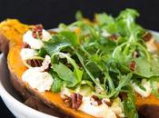 Arugula Sour Cream Baked Sweet Potatoes