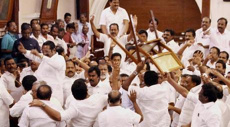 violent scenes in TN Assembly ~ famous citizen of Lucknow will not cast his vote !!