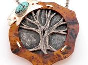 Polymer Clay Tree Life Copper with Turquoise Pe...