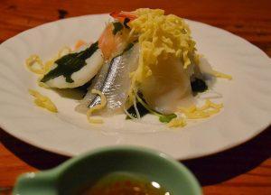 Sashimi with Chilli sauce, Osenkaku Ryokan Takaragawa Onsen in Winter Snow