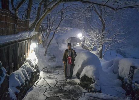 Onsens at Night. Osenkaku Ryokan Takaragawa Onsen in Winter Snow