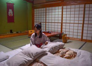 Night beds at Osenkaku Ryokan Takaragawa Onsen in Winter Snow