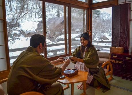Yukata Dress at Osenkaku Ryokan Takaragawa Onsen in Winter Snow
