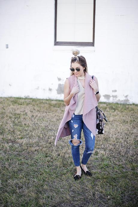 Blush, nude, and black for spring.