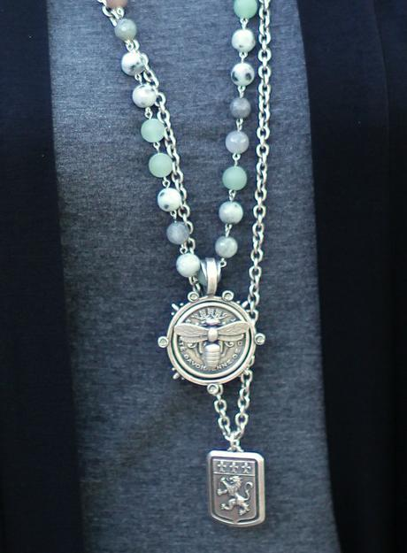 vintage French medallion necklaces