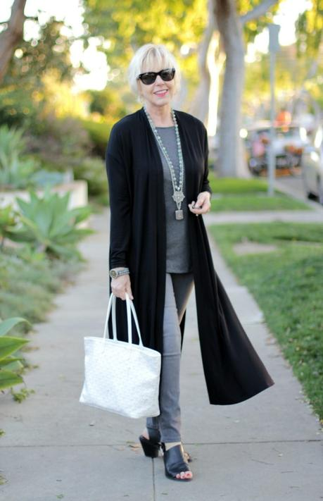 Eileen Fisher duster cardigan, Goyard bag