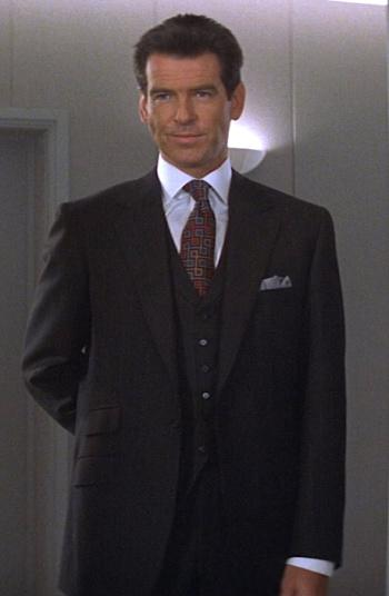 "Bond's Unique Charcoal Striped ""No Cigar"" Suit"