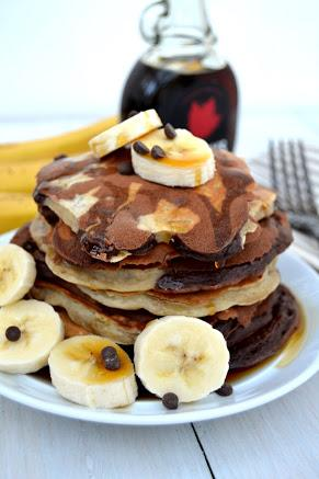 Chocolate and Banana Swirled Pancakes