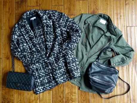 tweed coat, Chanel bag, utility jacket, Givenchy Pandora bag