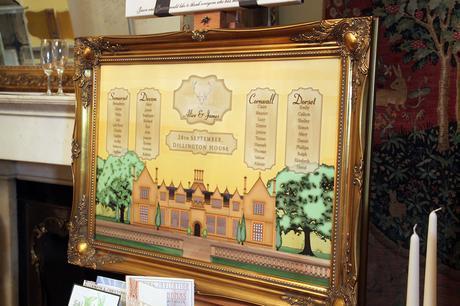 Dillington House framed wedding table plan