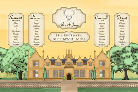 Dillington House illustrated table plan design