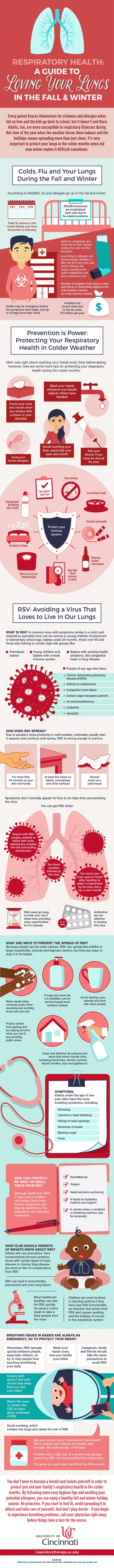 An infographic about respiratory health during fall and winter by the University of Cincinnati's respiratory therapy program.<br alt=