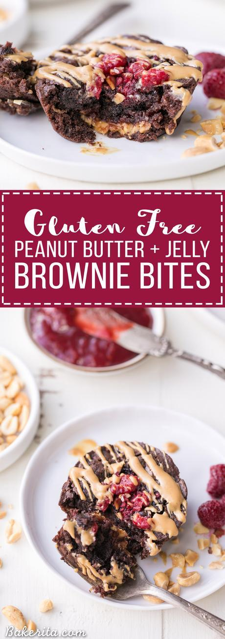 These Gluten Free Peanut Butter & Jelly Brownie Bites are fudgy and flavorful, with a surprise of peanut butter and jelly on the inside of each brownie! If you're a peanut butter & jelly fan, you're going to love these.