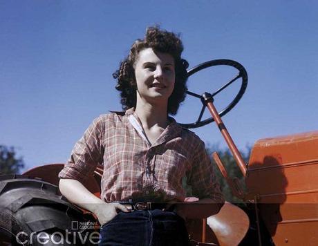 Color photos of 1940s women Young Nebraskan farm worker - circa 1944 -