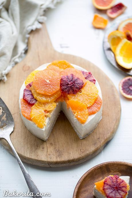 This No-Bake Lemon Cheesecake is a cashew-based raw, vegan, and Paleo cheesecake adorned with slices of juicy citrus. It's incredibly creamy, a little tangy, and lightly sweetened with maple syrup.
