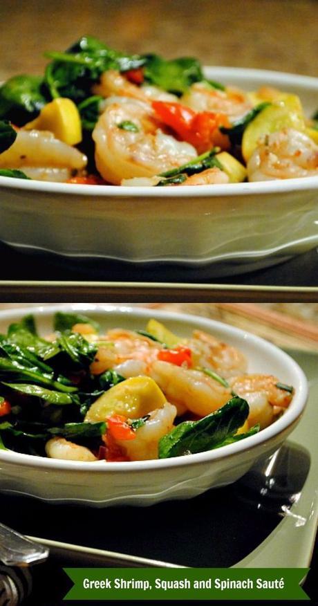 Slender Greek Shrimp, Squash and Spinach Sauté