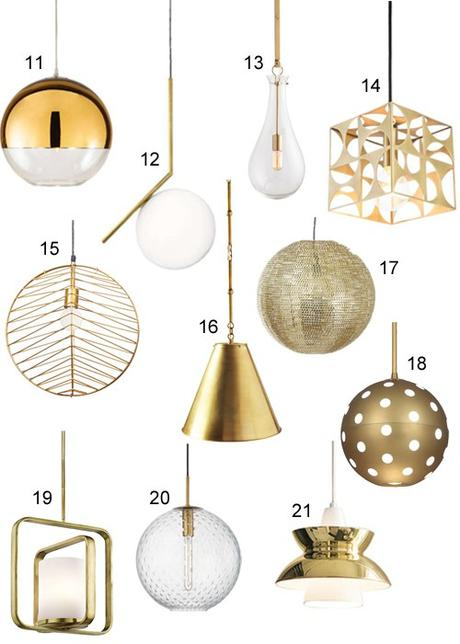 Get the look 21 modern brass pendant lights paperblog get the look 21 modern brass pendant lights mozeypictures Image collections