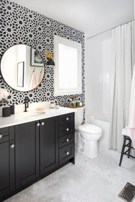 5 Tips for Incorporating Bold Wallpapers in your Home – By sticking to a monochrome colour palette, the result is a much more clean and contemporary look. Works perfectly in the bathroom with minimal clutter.