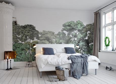 5 Tips for Incorporating Bold Wallpapers in your Home – If you want to be on trend with your décor, then murals are the hottest new way to wallpaper, and there are so many designs out there, from forest scenes, to blue skies. This mural is by Rebel walls and is called 'Bellewood.'