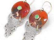 Enameled Copper Chrysoprase Sterling Silver Earrings