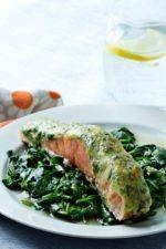 Salmon with Pesto and Spinach