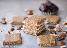 Pecan Pie Protein Bars (No-Bake, Gluten-Free, Paleo + Whole30)