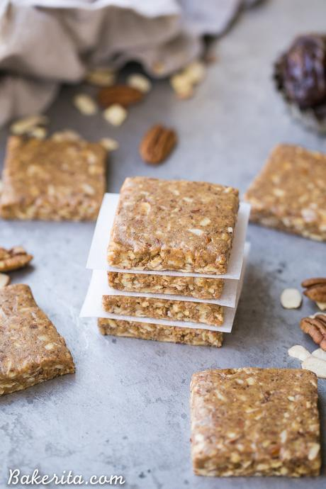 These Pecan Pie Protein Bars are chewy, filling, and taste like pecan pie - only five ingredients needed! These collagen-packed protein bars require no baking and they're gluten-free, Paleo, and Whole30-approved.