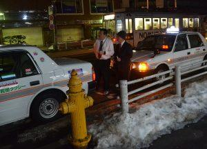 Taxis in Hakodate, JR Japan Rail Pass Travel in Winter February Snow