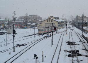 Takayama Station, JR Japan Rail Pass Travel in Winter February Snow