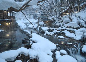 Takaragawa River, Osenkaku Ryokan Takaragawa Onsen in Winter Snow