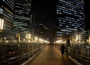 Shiodome at Night, JR Japan Rail Pass Travel in Winter February Snow