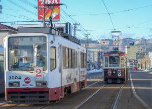 Trams in Hakodate, JR Japan Rail Pass Travel in Winter February Snow